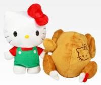 可逆式雞貓合一感恩節Hello Kitty烤雞玩偶