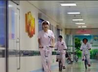 分秒必爭,醫院內腳踏車 滑板車登場