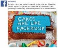 Facebook 「蛋糕的比喻」,呼籲不要沉迷玩 FB