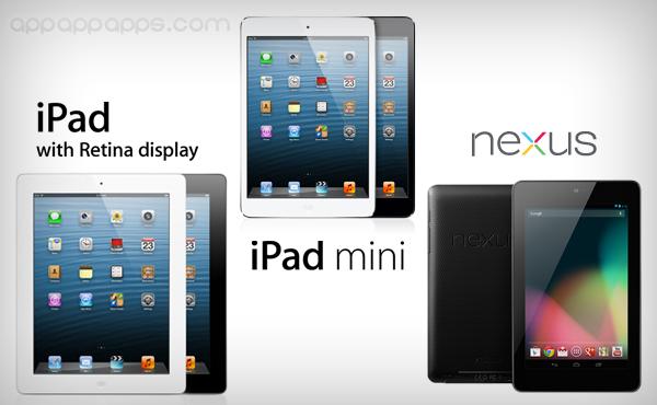 iPad mini完全比較: iPad 3, iPad 4, Nexus 7, Samsung Galaxy Tab 2