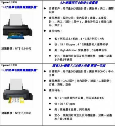Epson 原廠連續供墨印表機推出 A3 級 6 色與 4 色分離機種