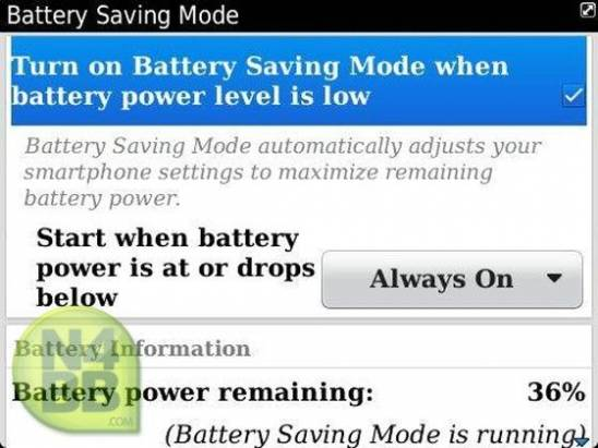 BlackBerry OS 7.1 將會內建省電模式