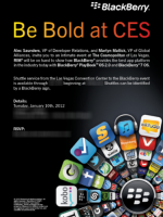 BlackBerry 將在1 10展示 BlackBerry 10 與 PlayBook OS 2.0