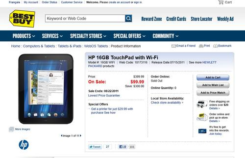 HP 16GB TouchPad超便宜平板,不到100鎂