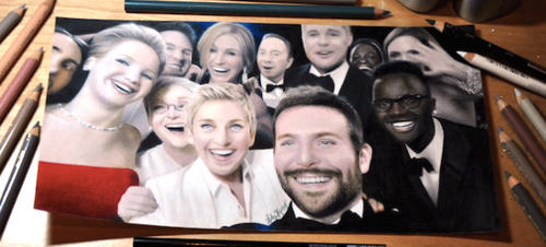 才女手繪 Ellen DeGeneres 奧斯卡群星「團」自拍