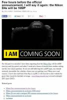 D4s即將釋出的前夕,Nikon Rumors網站玩這麼大!如果D4s的像素為24MP就關站不玩了。