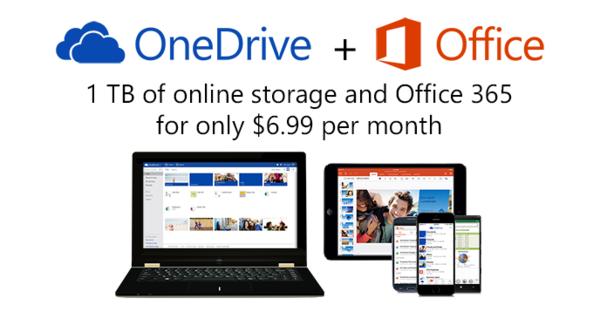 微軟放大絕,OneDrive 免費空間 15GB 起跳、Office 365 訂閱戶可享 1TB...