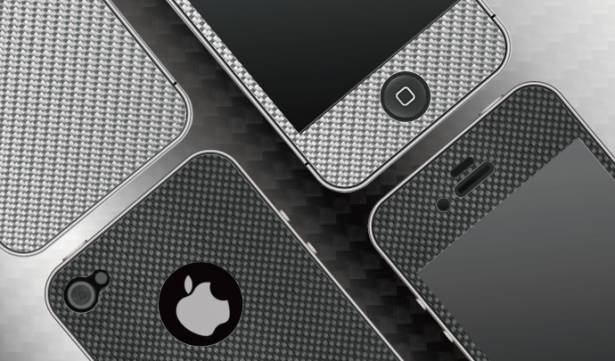 iPhone4/4S-碳玻纖背貼-薊銀色