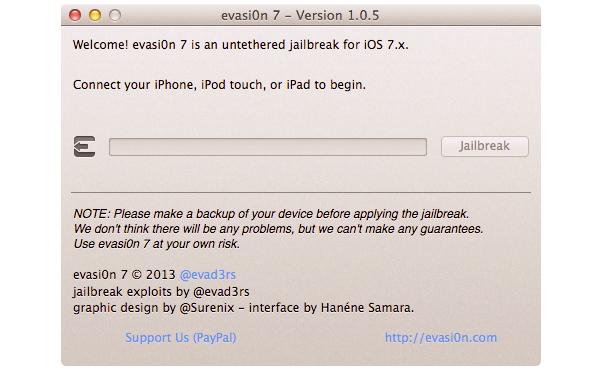 iOS 7完美JB工具 evasi0n7 更新, 新增iOS支援