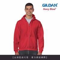 GILDAN 總代理-100 美國棉 連帽拉鍊素面長袖口袋外套 40C紅色