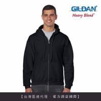 GILDAN 總代理-100 美國棉 連帽拉鍊素面長袖口袋外套 36C黑色