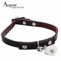 【ARGENT銀飾】寵物項圈吊牌名字訂做系列「愛心造型 單面刻字 」純銀吊牌+真皮項圈 單個價 含項