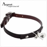 【ARGENT銀飾】寵物項圈吊牌名字訂做系列「愛心造型 雙面刻字 」純銀吊牌+真皮項圈 單個價 含項