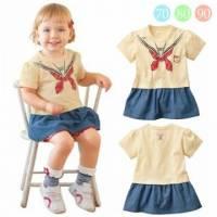 魔法Baby ~海洋風肩開扣連身裙 米黃 ~童裝~女童裝~時尚設計童裝~k20915