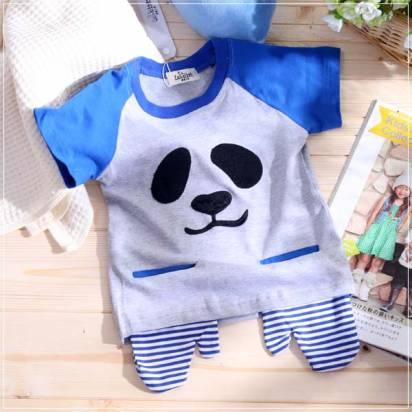 魔法Baby ~韓版熊貓臉手套造型口袋短T~童裝~男童裝~時尚設計童裝~k22490