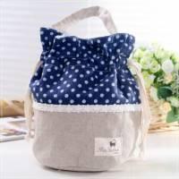 魔法Baby~日本風拼布手提 束口圓筒包 亞麻灰 深藍 ~孩童 大人用品~時尚設計~f0075