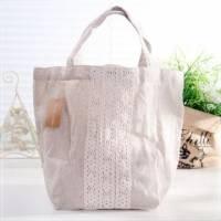 魔法Baby~日本風亞麻布蕾絲手提袋~孩童 大人用品~時尚設計~f0080