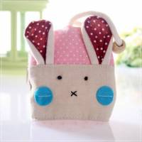 魔法Baby~日本風手工拼布鑰匙 零錢包 紅點兔 ~孩童 大人用品~時尚設計~f0058