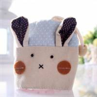 魔法Baby~日本風手工拼布鑰匙 零錢包 藍點兔 ~孩童 大人用品~時尚設計~f0059