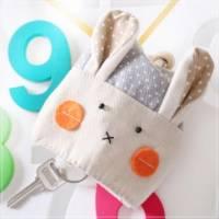 魔法Baby~日本風手工拼布鑰匙 零錢包 卡其點兔 ~孩童 大人用品~時尚設計~f0060