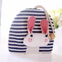 魔法Baby~日本風手工拼布鑰匙 條紋兔 ~孩童 大人用品~時尚設計~f0062