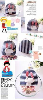 魔法Baby~日本風手工拼布鑰匙(條紋兔)~孩童&大人用品~時尚設計~f0062