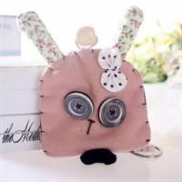 魔法Baby~日本風手工拼布鑰匙 鈕扣兔 ~孩童 大人用品~時尚設計~f0063