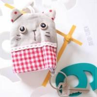 魔法Baby~日本風手工拼布鑰匙 鈕扣貓 ~孩童 大人用品~時尚設計~f0064