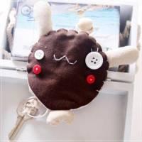 魔法Baby~日本風手工拼布鑰匙 鈕扣小兔 ~孩童 大人用品~時尚設計~f0065