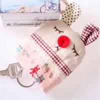 魔法Baby~日本風手工拼布鑰匙 點點小兔 ~孩童 大人用品~時尚設計~f0066