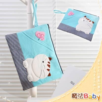 魔法Baby~裝小筆電、ipad、平版電腦貓咪拼布包(水藍)~生活用品~時尚設計~f0083