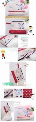 魔法Baby~裝小筆電、ipad、平版電腦貓咪拼布包(卡其/紅白圓點)~生活用品~時尚設計~f0084