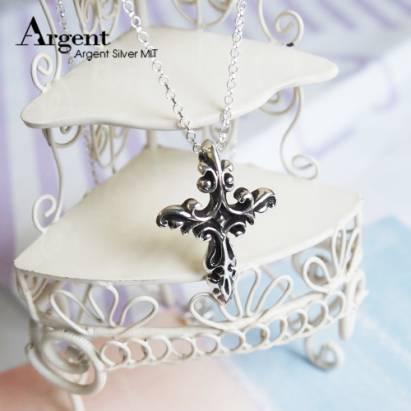 ARGENT銀飾 十字架造型系列 火焰十字 染黑款 純銀項鍊