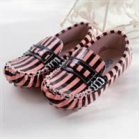 魔法Baby ~KUKI 酷奇俏皮斑馬條紋質感系童鞋 粉黑條紋 ~男女童鞋~時尚設計童鞋~sh055