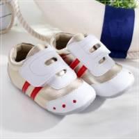 魔法Baby ~KUKI 酷奇流線橫條休閒系童鞋 白 金 ~男童鞋~時尚設計童鞋~sh0521