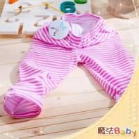 魔法Baby ~條紋女童內搭褲 粉 白 ~童裝~女童裝~時尚設計童裝~k23541