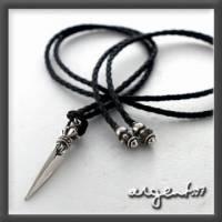 《ARGENT銀飾》型男潮流系列『銀之錐 皮繩款 』純銀項鍊 單條價
