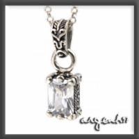 ARGENT 美鑽系列 愛心圖騰 白鑽 純銀項鍊