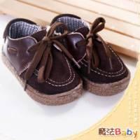 魔法Baby~【KUKI酷奇】質感系素面綁帶楔型休閒鞋 深棕 ~男女童鞋~時尚設計童鞋~sh0774