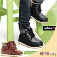 魔法Baby~【KUKI酷奇】斑馬格紋馬丁飾綁帶短筒鞋 咖啡 ~男女童鞋~時尚設計童鞋~sh0293