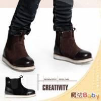 魔法Baby~【KUKI酷奇】層次感潮型內綿羊薄毛中筒靴 黑 ~男女童鞋~時尚設計童鞋~sh1047