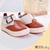 魔法Baby~【KUKI酷奇】質感系素面領巾風柔軟潮鞋 咖啡 寶寶鞋 學步鞋~男女童鞋~sh0811