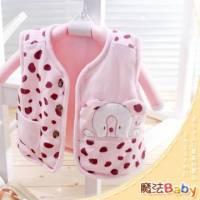 魔法Baby ~百貨專櫃正品絨布鋪棉背心外套 粉 ~嬰兒~女童裝~時尚設計童裝~k23909
