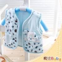 魔法Baby ~百貨專櫃正品絨布鋪棉背心外套 水藍 ~嬰兒~時尚設計童裝~k23893