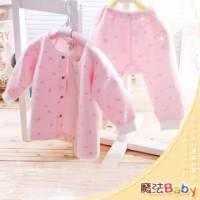 魔法Baby~【KUKI】台灣製造包紗布前全開套裝~套裝~女童裝~時尚設計童裝~k00521_p
