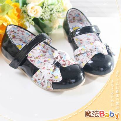 魔法Baby~【KUKI酷奇】甜美小碎花飾蝴蝶結淑女鞋~女童鞋~時尚設計童鞋~sh1054
