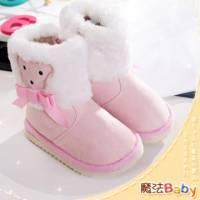 魔法Baby~【KUKI酷奇】動物系柔軟綿羊飾蝴蝶結雪靴 粉 ~女童鞋~時尚設計童鞋~sh1023