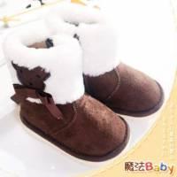 魔法Baby~【KUKI酷奇】動物系柔軟綿羊飾蝴蝶結雪靴 咖啡 ~女童鞋~時尚設計童鞋~sh1030
