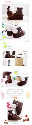 魔法Baby~【KUKI酷奇】動物系柔軟綿羊飾蝴蝶結雪靴(咖啡)~女童鞋~時尚設計童鞋~sh1030