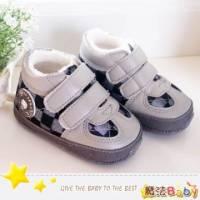 魔法Baby~【KUKI酷奇】方格紋內裡絨毛品牌寶寶鞋 學步鞋 灰 ~男童鞋~sh1139
